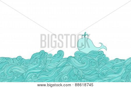 Blue whale in water