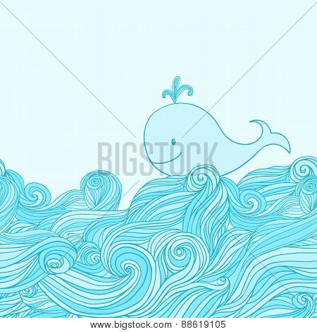 Blue cute whale in the sea waves.