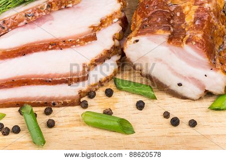 Thin Slices Of Bacon And Pepper