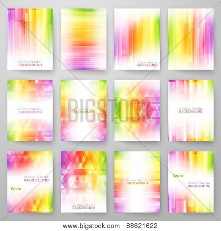 Set of abstract bright background. Vector illustration for modern design