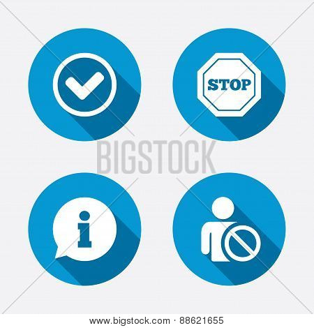 Information icons. Stop prohibition symbol.