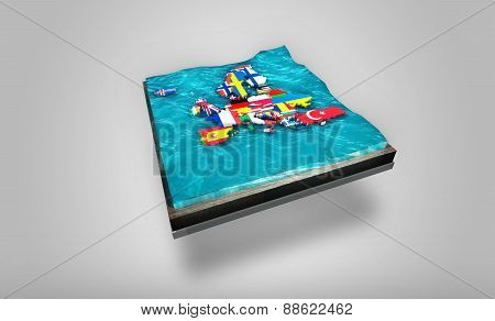 3D Digital Map of Europe drifting on shaky waters on top of 3D plate - Graphic Concept