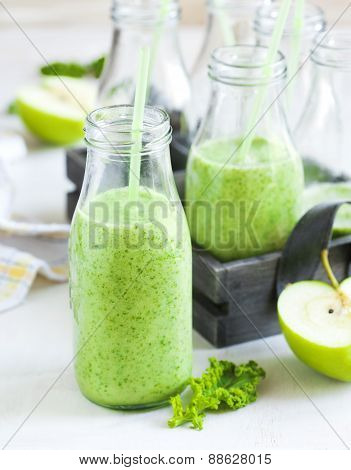 Green Juice In Bottle. Healthy Drink.