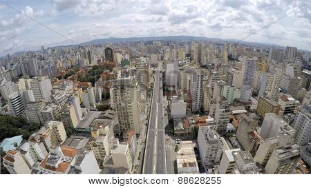 Aerial View of Elevado Presidente Costa e Silva (also known as Minhocao) in Sao Paulo, Brazil