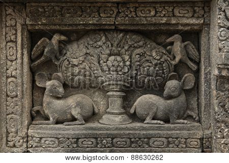 Prambanan Tree of Life. Stone bas relief from the Prambanan Temple near Yogyakarta, Central Java, Indonesia.
