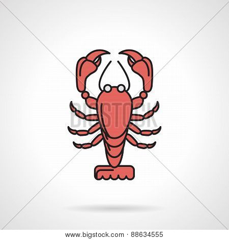 Red crayfish flat vector icon