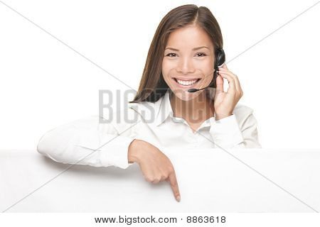 Customer Service Woman Showing Billboard Sign