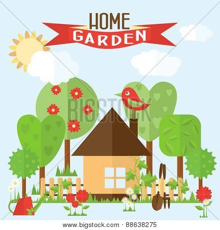 Vector garden illustration in flat style. Garden around the house with a fence. Flowers in front of house.