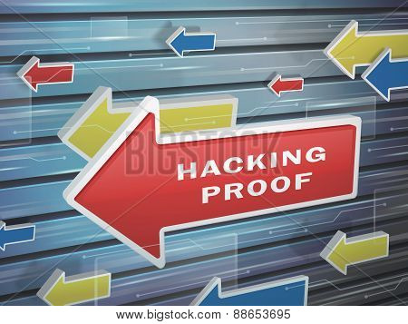 Moving Red Arrow Of Hacking Proof Words