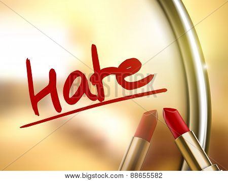hate word written by red lipstick on glossy mirror poster