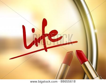 Life Word Written By Red Lipstick