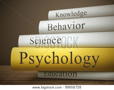 Book Title Of Psychology Isolated On A Wooden Table