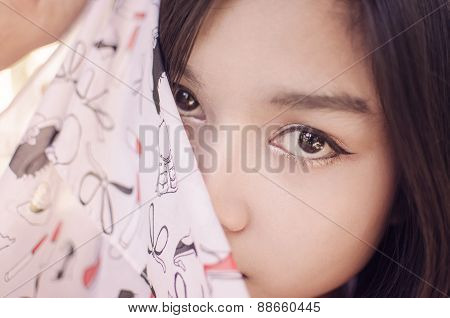 Beautiful Asia Woman Close Up Eye