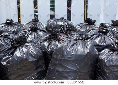 Black Garbage Bag On The Street