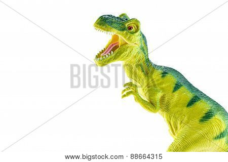 Tyrannosaurus Rex Plastic Toy Isolated On White Background.