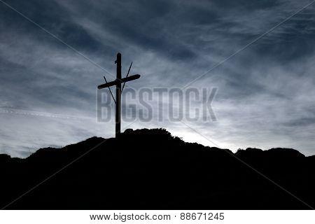 Wood crucifix mountain