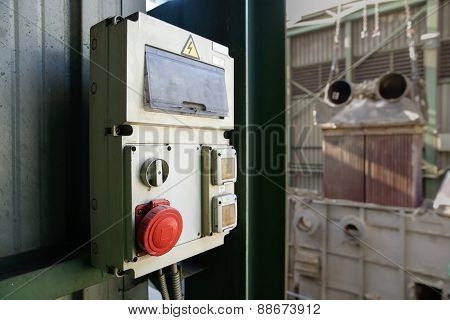 Industrial Electricity Cabin With Red Stop Button