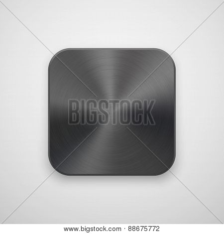 Black Abstract App Icon Template With Metal Texture