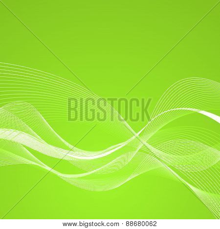 Abstract Green Background With Lines. Vector Illustration