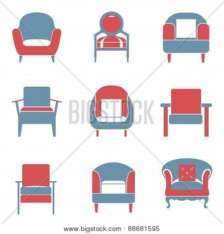 Sofas Icons Set Duotone.