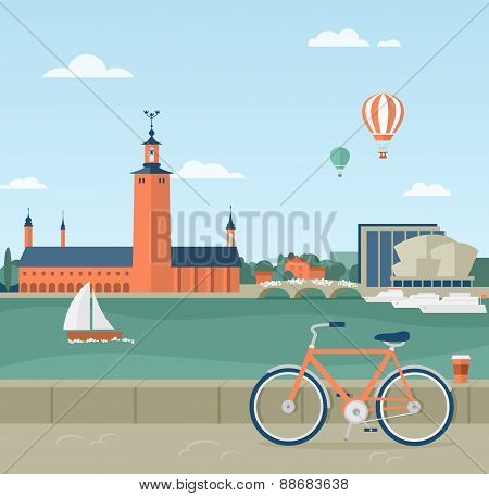 Stockholm seaside promenade, view of the City Hall