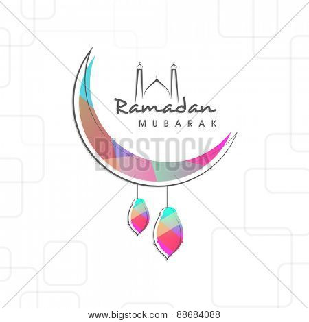 Holy month of muslim community, Ramadan Kareem celebration with creative illustration of arabic lamps hanging by moon on stylish background.