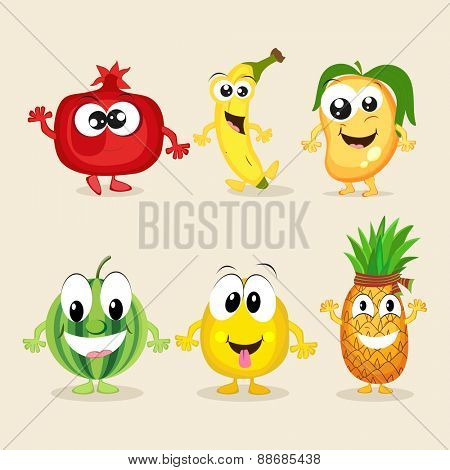 Funny cartoons of colorful fruits characters on beige background.