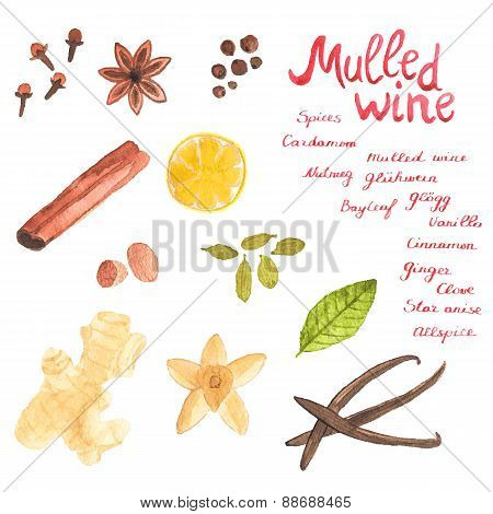 Seamless watercolor pattern with realistic cinamon, ginger,cloves,allspice,cardamom, nutmeg, star an