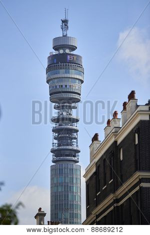 LONDON, UK - APRIL 22: The emblematic BT Tower was completed in the 1960s, and was the tallest building in London until 1980. April 22, 2015 in London.
