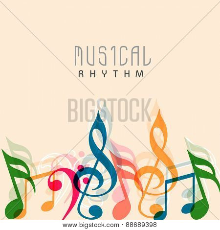 Poster, banner or flyer design decorated with colorful musical notes and stylish text Musical Rhythm.