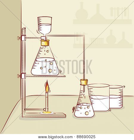 Illustration of chemical beaker and flask for science laboratory and chemistry research.