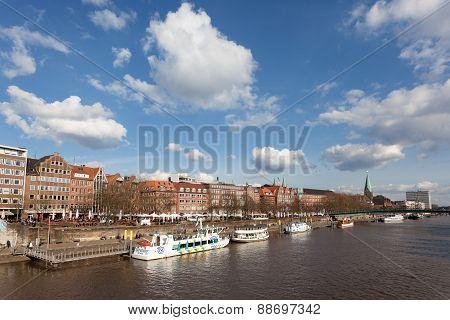 Weser River In Bremen, Germany