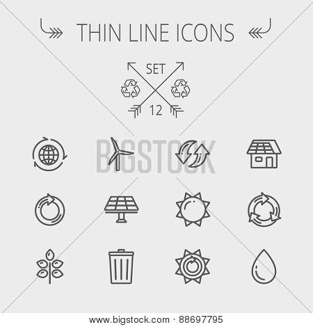 Ecology thin line icon set for web and mobile. Set includes- recycle, sun, water drop, garbage bin, windmill, leaves, global icons. Modern minimalistic flat design. Vector dark grey icon on light grey