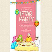 Holy month Ramadan Kareem Iftar Party celebration invitation card decorated with Islamic people enjoying food. poster