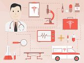 Big set of different Medical elements with illustration of a smiling doctor for Health Care concept.