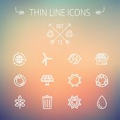 Ecology thin line icon set for web and mobile. Set includes- recycle, sun, water drop, garbage bin, windmill, leaves, global icons. Modern minimalistic flat design. Vector white icon on gradient mesh poster