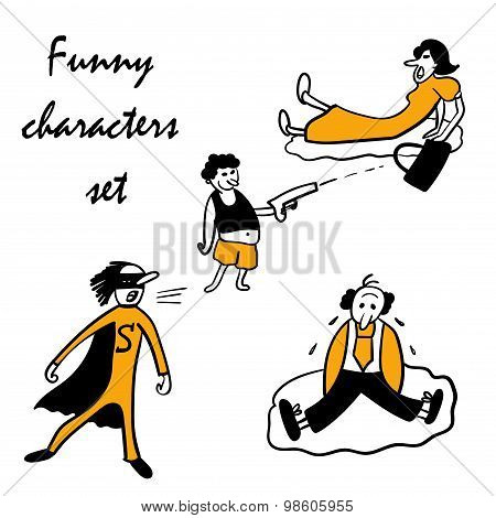 funny characters set vector illustration