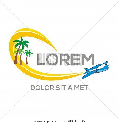 Logo eco sun beach holiday plane vector