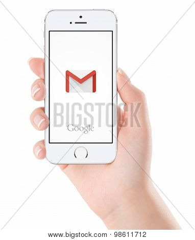 Google Gmail Application Logo On The White Apple Iphone 5S Display In Female Hand