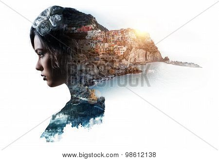 Double Exposure Portrait Of A Woman And View Of Manarola. La Spezia, Liguria, Northern Italy