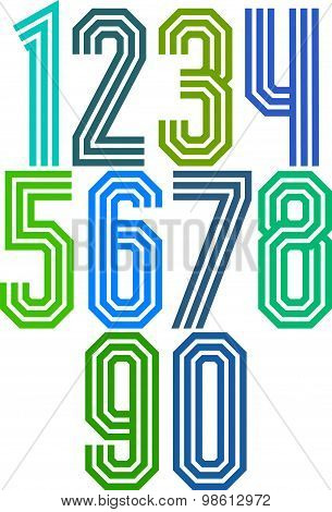 Triple stripe geometric numbers, retro style numerals made with straight lines only.