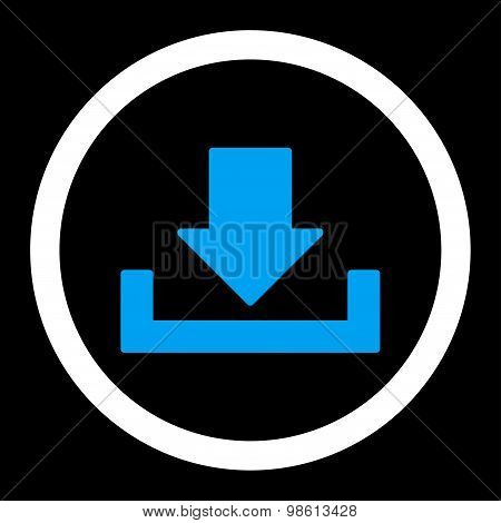 Download raster icon. This rounded flat symbol is drawn with blue and white colors on a black background. poster