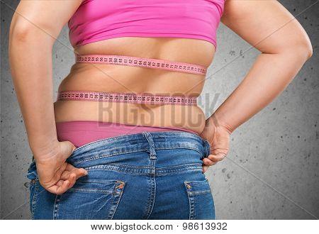 Woman fat stomach large shape concepts person