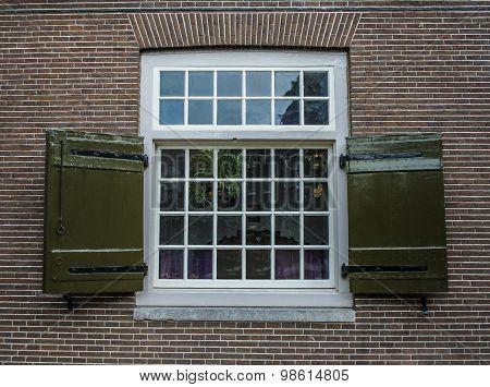 Georgian Stye Window Frame On Brick House In Amsterdam