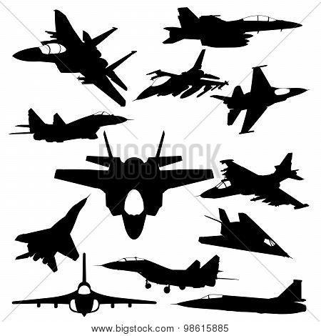 Military jet-fighter silhouettes