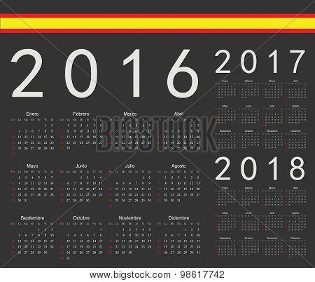 Set Of Black Spanish 2016, 2017, 2018 Year Vector Calendars
