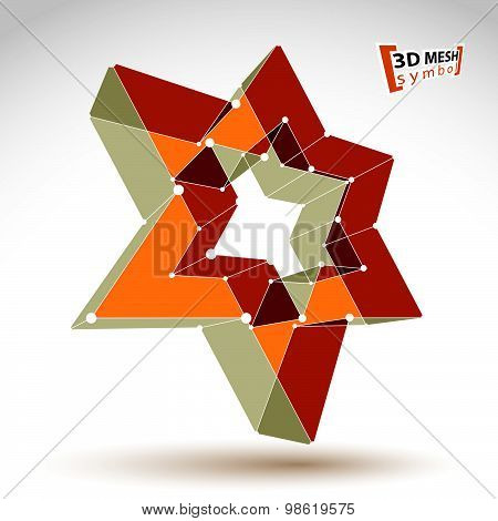 3d mesh gold star sign isolated on white background, yellow lattice superstar icon
