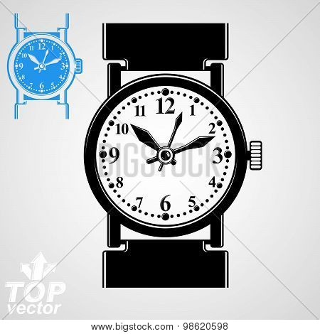 Vector stylized wristwatch illustration, elegant detailed quartz watch with dial and an hour hand.