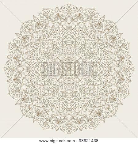 Complex, detailed mandala - round vector ornament.