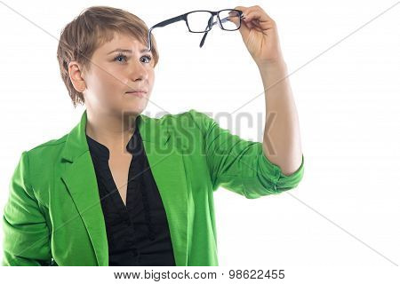 Photo of woman looking through glasses